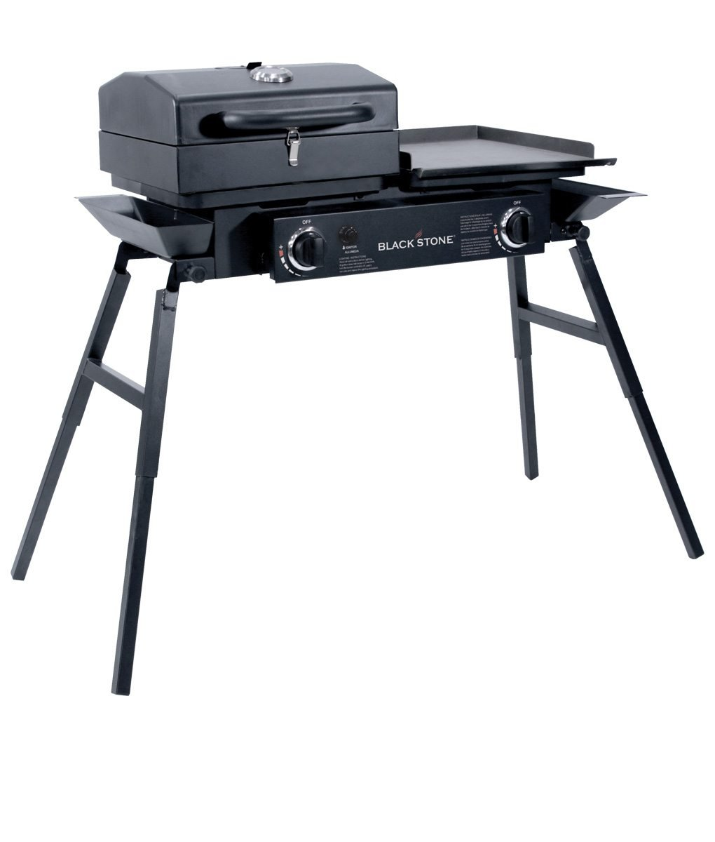 """Barbecue Box Portable Gas Grill and Griddle Combo Fishing Blackstone Grills Tailgater Two Open Burners /"""" Griddle Top Camping Stove Great for Hunting Adjustable Legs Tailgating and More"""