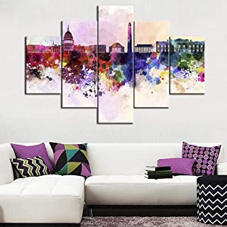 5 Panel Canvas Wall Art Abstract Painting Washington DC Skyline Reflection in Water Modern Canvas Artwork Modern City Skyscraper Contemporary Wall Art Pictures for Home Office Decoration - 60