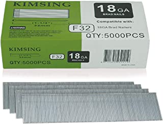 Kimsing 18 Gauge 1 1/4 inch Leg Galvanized Brad Nails Finish Nails For Brad Nailer - 5,000 PCS/BOX (1)