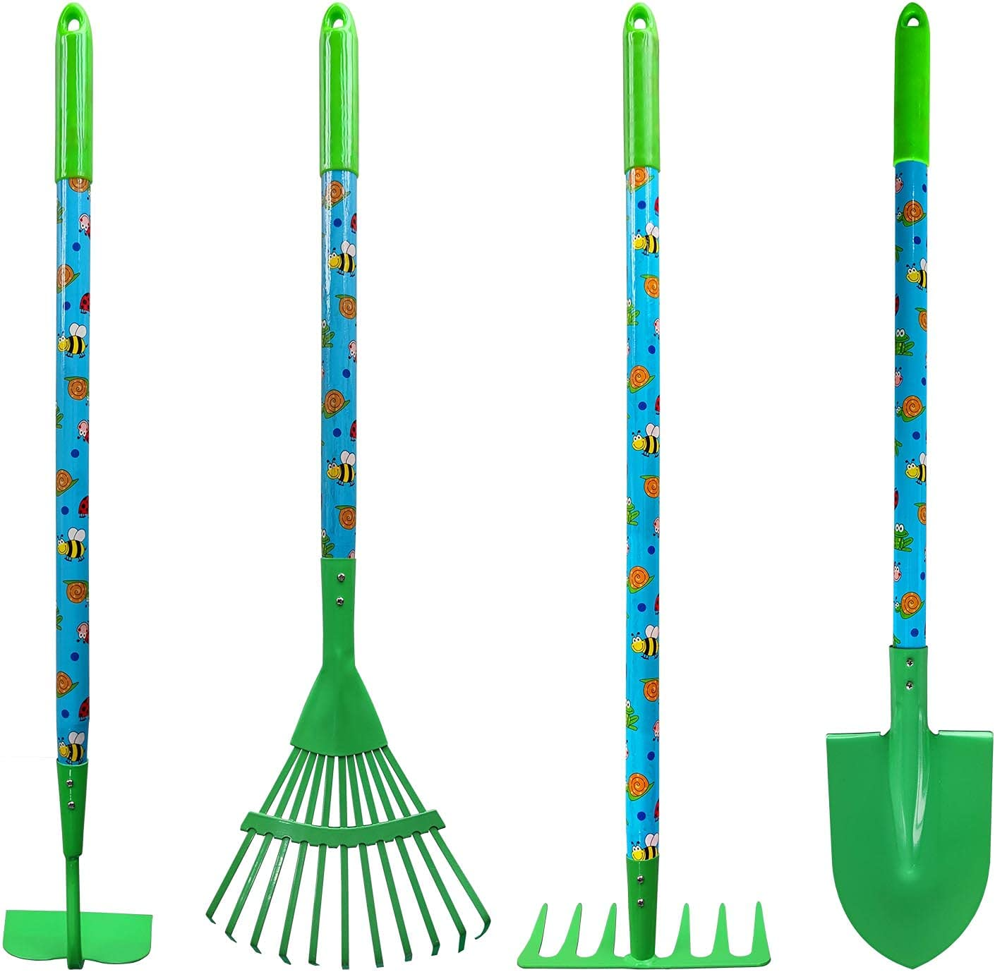 MTB Supply Kid's Garden Tool Set with Child Safe Shovel, Rake, Hoe and Leaf Rake– 4 Piece Gardening Kit with Green Head and Long Wood Handles…