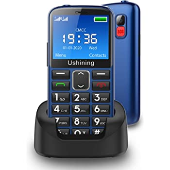 Ushining Seniors Cell Phones Unlocked SOS Button Hearing Aid Compatible 3G Tmobile Senior Basic Cell Phones Large Volume 2.4 Inch HD Screen Feature Phones with Charging Dock (Blue)