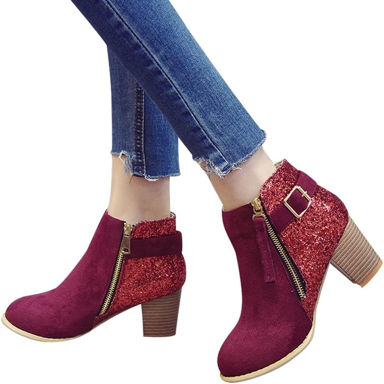 Fheaven (TM) Women Round Toe High Ankle Boots Side Zipper Pactchwork Short Boots Short Boots