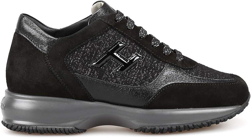 Hogan sneakers interactive in shiny tweed per donna in camoscio e pelle HXW00N0BH50LKAB999