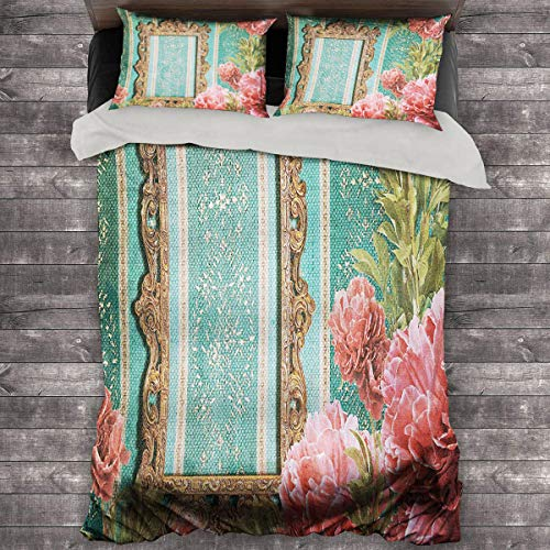 Miles Ralph Vintage King Bed Comforter Old Frame with Ornaments and Roses Antique Theme Retro Nostalgic Artwork King Duvet Set 89'x89' inch Seafoam Dark Coral