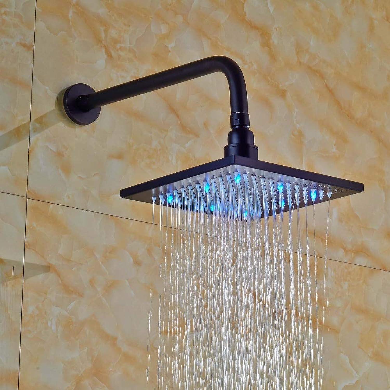 YAMEIJIA Quadratische LED Regenbrause Wandhalterung Duscharm Bronzel