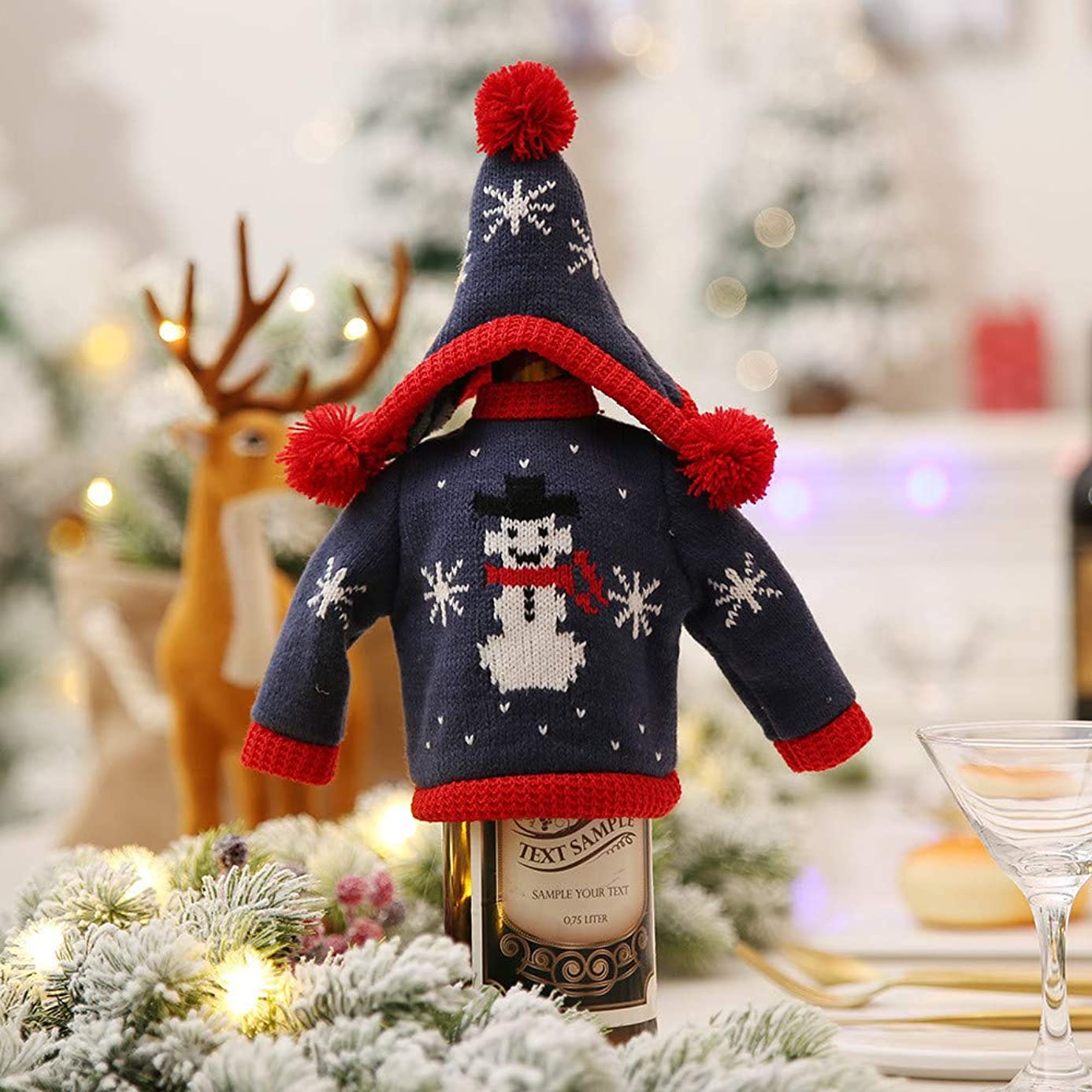 Iusun Christmas Knitted Wine Bottle Cover, Xmas Bottle Cap Decor Party Table Home Decoration xos8951876