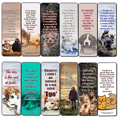 Creanoso Dog segnalibri Cards (12-pack)–Dog citazioni e sayings- Dog MOM Parent Gifts–party Favors for birthday Pet Dog lovers