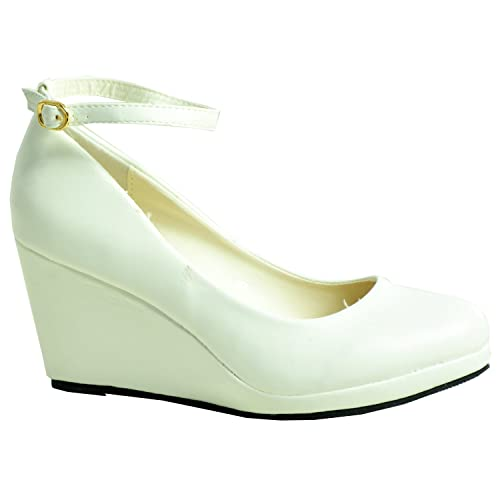 eefc2f9eaf9 CucuFashion 2019 Brand Ladies Womens Wedge Pumps Ankle Strap High Heels  Platform Party Shoes Size UK