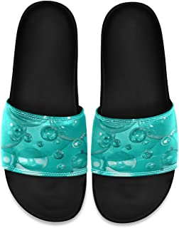 Turquoise Bubbles Men's Leather Slide Sandals Summer House Slippers Athletic Boys