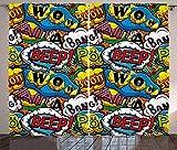 Waple Cortinas opacas ojete para sala de estar Burbujas cómicas con pitidos vívidos 140*100cm Cortinas Opacas 3D Cortinas De Salon En Poliéster para Habitacion Dormitorio Cocina Decoración del Hogar M