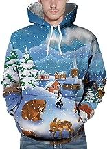 IZHH Mens Christmas Hoodie Lightweight Pullover Sweatshirt Casual Jacket Coat