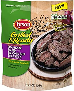 Tyson Grilled & Ready Fully Cooked Steakhouse Seasoned Beef Steak Strips, 16 oz. (Frozen)