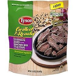 Tyson Grilled & Ready Fully Cooked Steakhouse Seasoned Beef Steak Strips, 16 oz. (Frozen)