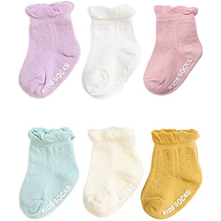 Baby Girls Anti-slip Coton Lace Socks Non-slip Toddler Kids Frilly Socks