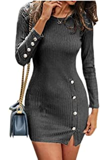 Women Crew Neck Long Sleeve Cable Knit Bodycon Sweater Dress