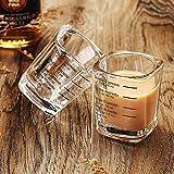 Bicchieri da 60 ml, bicchiere da caffè espresso doppio misurino, 60 ml, bicchiere pesante per vino, bevande spiritose, bicchiere graduato quadrato, 2 pezzi