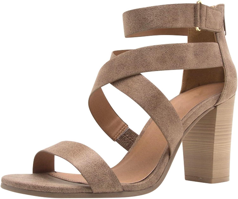 Cambridge Select Women' s Open Toe Crisscross Strappy Ankle Chunky Stacked Block Heel Sandal
