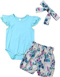 ae2ac2827328 Infant Baby Girl Plain Ruffle Short Sleeve Cotton Romper Bodysuit Mermaid  Shorts +Headband Summer Clothes