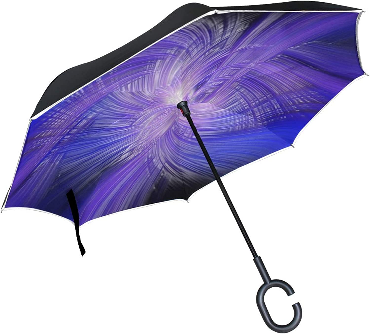 Double Layer Ingreened Braids colors Abstract Light Style Digital Paint Umbrellas Reverse Folding Umbrella Windproof Uv Predection Big Straight Umbrella for Car Rain Outdoor with CShaped Handle