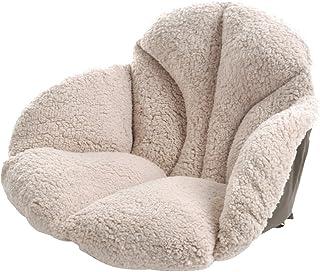 KIOPS Katoen gewatteerd stoelkussen met antislip bodem, crème winter fleece zitkussen voor bank, bureaustoel, rolstoel, Ja...