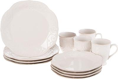 Lenox French Perle 12-Piece Plate & Mug Dinnerware Set, 18.45 LB, White