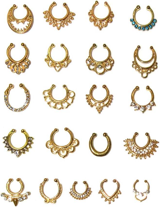 Aoyoho 21Pcs Fake Septum Clicker Nose Ring Rhinestone Non Piercing Hanger Clip Body Jewelry (Gold)