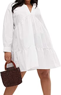 KISSMILK Women's Plus Size Loose Ruffled Shirt Dress Solid V-Neck Casual White Dress
