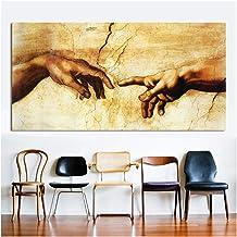 nr Pintura Lienzo Decorativo Arte Miguel Ángel creación de Adán decoración del hogar Cuadros de Pared para Sala de Estar -50x100cm sin Marco