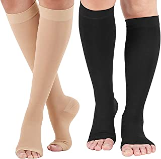 Open Toe Compression Socks 2 Pairs 20-30 mmHg Knee High Support Stockings Toeless for Men or Women Support Pregnancy, Runn...