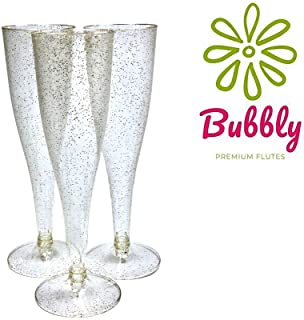 55 Pack Plastic Champagne Flutes Disposable with Gold Glitter   5 oz Bulk Disposable Wine Glasses   Reusable Party Cups Perfect For Wedding showers, Bridal Showers & Baby Showers