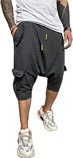 MakingDa Mens Plain Baggy Lounge Harem Pants with Pockets Drawstring Street Hip Hop Cropped Trousers Bottoms Sweatpants Ca...