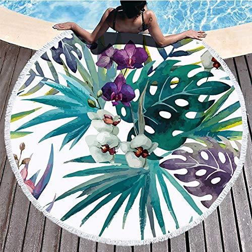 Boyouth Toalla de Playa Redonda, Estampado de Flores, Alfombra de Playa con borlas, Ultra Suave, superabsorbente, Toalla Multiusos