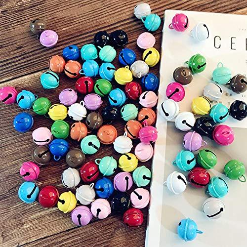 DAHI Glöckchen Schellen 48stk Metallglöckchen Glocke in 16 Farbe für Kunsthandwerk Schlüsselanhänger Anhänger Weihnachtsdekoration(48stk bunt)