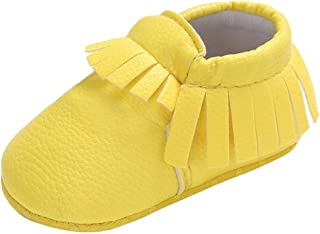 Baby Boys Girls Soft Soled Tassel Bowknots Crib Shoes Lightweight Soft Sole Prewalker..
