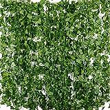 Plantas Hiedra Artificial (24pcsx2.2m) Hiedra Hojas de Vid Artificial Enredadera...