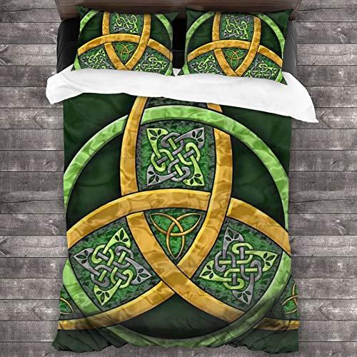 Celtic Trinity Knot - Irish Bedspread Coverlet Set Comforter 3-Piece Bedding Set 86'x70' Quilt Pillowcase