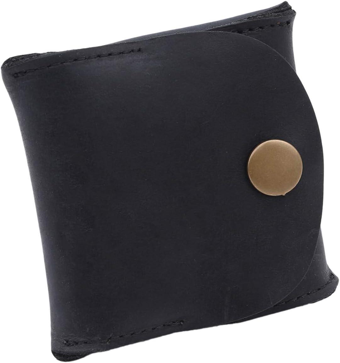 Bigsweety Men Leather Coin Pouch Purse Slim Cash Change Storage Coin Purse Wallet (Black)