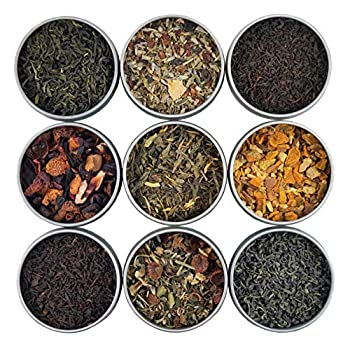 Heavenly Tea Leaves Organic Loose Leaf Tea Sampler Set 9 Assorted Loose Leaf Teas & Herbal Tisanes  Approx 90 Servings
