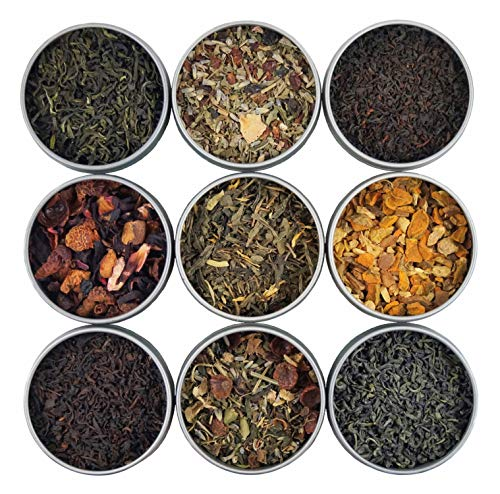 Heavenly Tea Leaves Organic Loose Leaf Tea Sampler Set, 9 Assorted Loose Leaf Teas & Herbal Tisanes