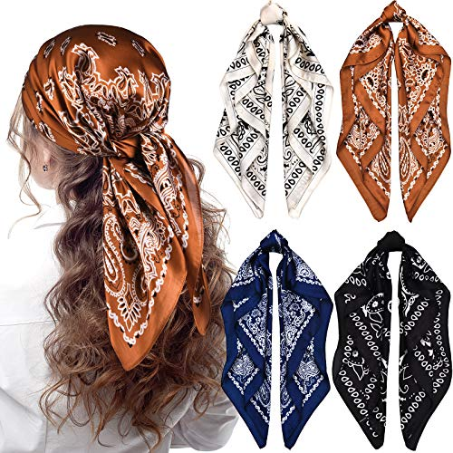 4 Pieces 27 Inch Satin Headband Scarves Silk Feeling Bandana Boho Head Scarves for Women Girls (Classic Pattern)
