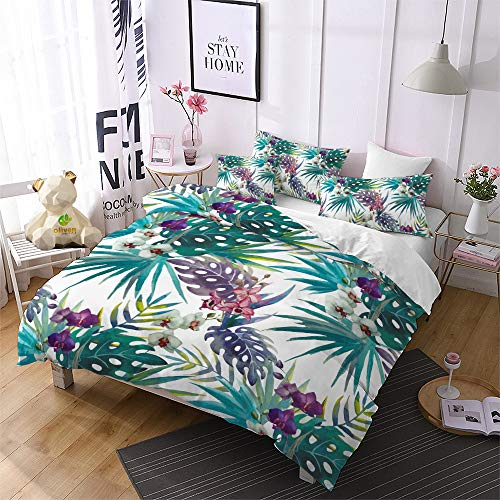 Tropical Rainforest Plant Duvet Cover Set King with Zipper Closure, Hand Painted Watercolor Iris Palm Leaf Flower Pattern Printed Comforter Cover Bedding Sets with 2 Pillow Cases (Leaf,King)