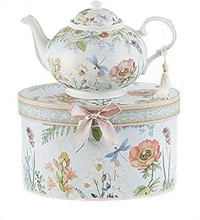 "Delton 9.5 x 5.6"" Porcelain Tea Pot in Gift Box, Dragonfly"
