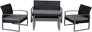 USA_Best_Seller Outdoor Patio Garden Backyard Pool 4 pcs Patio Cushioned Rattan Seat Attractive Weather Resistant Strong Steel Frame Removable Cushions Furniture Long Lasting