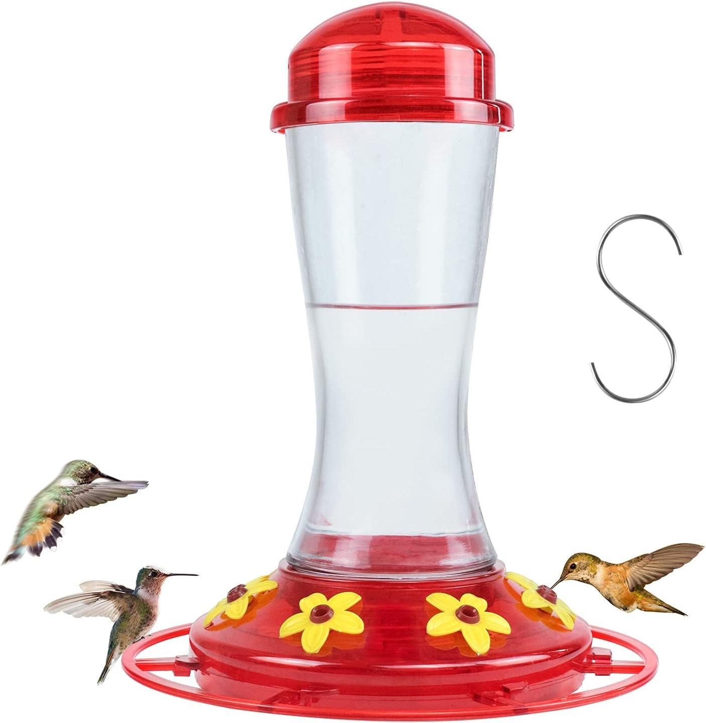 HOTOZON Hummingbird Feeder for Outdoors, Pinch Waist Glass Bottle, Circular Perch with 7 Feeding Ports, 19 Ounces, Red