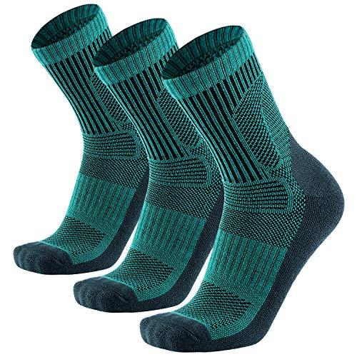 Wandersocken aus Merinowolle, 3er-Pack, Performance Cushion Crew-Socken für Herren und Damen, warm, atmungsaktiv - - Medium