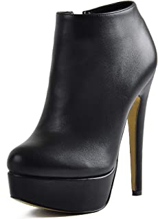Woman Stiletto Platform Zipper Ankle Boots Pointed Toe Sexy Lady Short Bootie