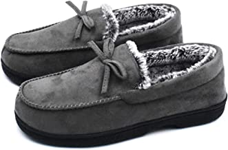 DL Men-Moccasin-Slippers-Indoor-Outdoor, Suede Mens House Slippers with Memory Foam, Faux Fur Lining Bedroom Slippers for Men Non Slip Outsole