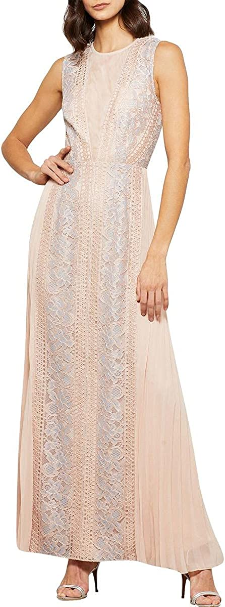 2021 BCBG Max Azria Women's Lace Gown Inset Sale special price A-Line Pleated Sleeveless