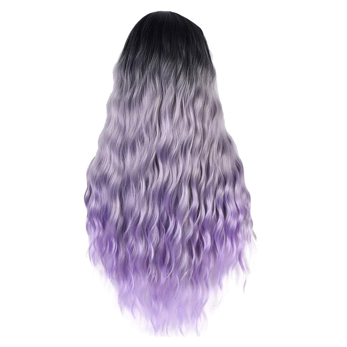 緯度タイプライター待つ女性の紫黒の長いウェーブのかかった巻き毛のセクシーなファッション個性コスプレパーティーウィッグ
