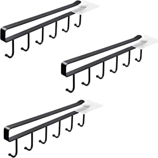 Alliebe 3 Pack Mug Cups Wine Glasses Storage Hooks Kitchen Utensil Ties Belts and Scarf Hanging Hook Rack Holder Under Cabinet Closet Without Drilling (Black)